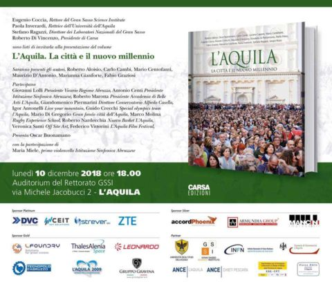 """L'Aquila 2009 sponsor di """"L'Aquila. La città e il nuovo millennio"""""""