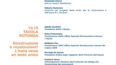 """L'Aquila 2009 sponsor di """"Fragilità e Ricostruzioni"""""""